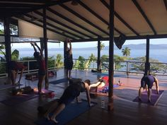 Sun Salutations in our pretty special Shala  feeling relax and enjoying mediation is not hard here in Fiji @daku_resort  thinking of you  guys we can t wait to come back......yeah right ...!. . .. . . . #fiji #retreat@#yoga #snorkeling #standingpaddle #sunshine #savusavu #fish #paradise #yinvibyasa #sea #beachyoga #people #funtime