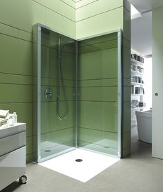 "This folding shower enclosure by Duravit offers extra ""open space"" in compact bathrooms. The aptly named OpenSpace is an innovative shower partition that folds away when not it use,..."