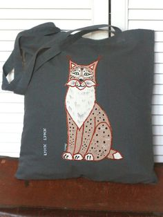 Shopping/tote bag with and appliquéed painted lynx by SkadiaArt
