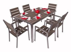 Plaswood table and chair set. Contemporary Garden Furniture, Teak Garden Furniture, Cafe Furniture, Outdoor Furniture Sets, Dining Sets Uk, Modern Outdoor Dining Sets, Outdoor Tables, Garden Table And Chairs, Table And Chair Sets