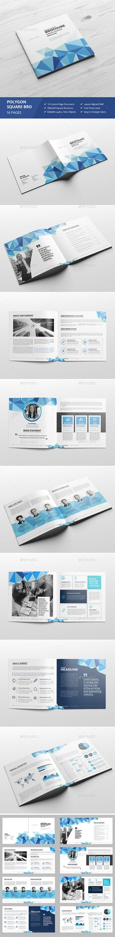 Haweya Polygon Square Brochure — InDesign Template #marketing #indesign • Download ➝ https://graphicriver.net/item/haweya-polygon-square-brochure/18582031?ref=pxcr