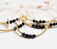 Grown up friendship bracelet with gold filled beads and swarovski crystals