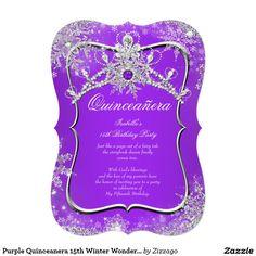Purple Quinceanera 15th Winter Wonderland 5x7 Paper Invitation Card
