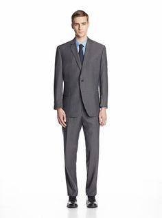 Calvin Klein Men's Malik Striped Two Button Suit (Medium Grey)