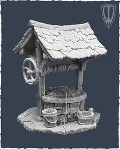 Resin Medieval Wishing / Water Well to be painted Fantasy Town, 3d Fantasy, Fantasy House, Medieval Fantasy, Environment Concept Art, Environment Design, Zbrush Environment, Game Environment, Figurine Warhammer
