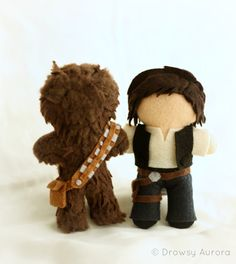"""Han Solo and Chewbacca Plush - inspired by """"Star Wars """" - Chibi, Geekery, Plushie $85  made out of felt, carefully sewn, and stuffed with hypo-allergenic 100% polyester fiber. 6"""" tall."""