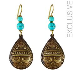Owning this item will not just make you feel very exclusive but also feel good that you are creating jobs and preserving such wonderful skills     Handmade     Material: brass and turquoise colored stones    Weight per half: 10 grams    Length: 7cm    width: 2.6cm  $25