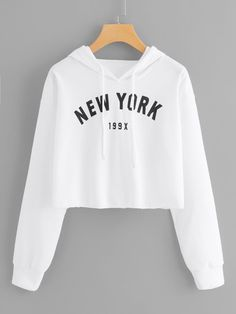 Plus Letter & Number Graphic Drawstring Hoodie - Fashion Style Girls Fashion Clothes, Teen Fashion Outfits, Cute Clothes For Teens, Crop Top Outfits, Cute Casual Outfits, Jugend Mode Outfits, Belly Shirts, Stylish Hoodies, Crop Top Hoodie
