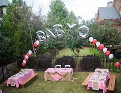 's Baby Shower / Baby-Q - Baby D's Baby-Q at Catch My Party Bebe Shower, Baby Q Shower, Baby Shower Themes, Baby Shower Decorations, Shower Ideas, Picnic Baby Showers, Backyard Baby Showers, Couples Baby Showers, Baby Shower Barbeque