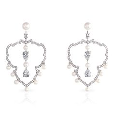 FAberge Impérial Crest/Hoop Earrings. This piece is set in 18 carat white gold and features 20 pearls and 186 diamonds totalling 5.1 carats. The centre pear-shaped diamonds of 0.90 carats are E VS2 and DVS1 certified.