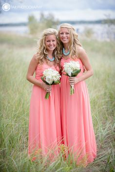 Just thought of this! Erica's bridesmaids can have coral dresses with blue accessories (necklace, or bouquet), and Jessica's bridesmaids can have blue dresses with coral accessories!!