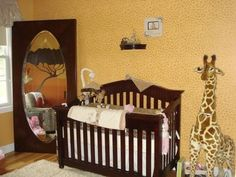 Sweet African Safari Baby NurseryTheme Bedding and Decor: There are so many unique elements to this baby's sweet safari nursery theme that I don't whether to start describing how we chose the baby bedding or the