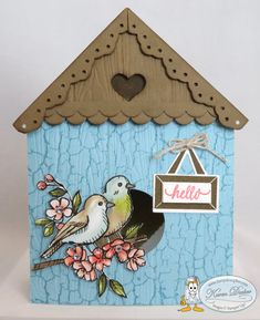 Using the Bird Ballad Designer Series Paper from Stampin' Up! and fun punches you, too, can make a birdhouse! Pictured directions on my blog at www.stampalosopher.com