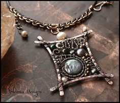Organic Wire Wrapped Solid Bronze & Copper Pendant by CathyHeery, $60.00