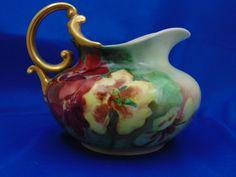 "Rosenthal Bavaria Nasturtium Motif Pitcher (Signed ""J. Dark Flowers, Autumn Decorating, Vintage China, Bavaria, Arts And Crafts, Pottery, Signs, Porcelain, Tea"