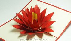 Lotus Pop up Greeting Cards, Any Occasion Pop up Card, Colletible Greeting Cards. Pop Up Greeting Cards, 3d Rose, Paper Flowers, Lotus, Serendipity, Fun, Graphics, Lotus Flower, Graphic Design
