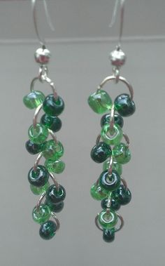 3 Color Choices Green Multicolor Glass Beaded Earrings by MysteryDealMichelle