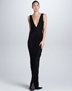 B28UP Ralph Lauren Collection Clarissa Beaded Plunging V-Neck Gown, Black