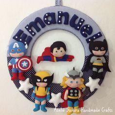 Guirlanda Porta de Maternidade tema Super Heróis para o Emanuel