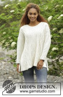 "Irish Winter - Knitted DROPS jumper with cables and vents in the side in ""Alpaca"" and ""Kid-Silk"". Size: S - XXXL. - Free pattern by DROPS Design"