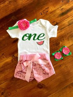 Watermelon Birthday Outfit with Sparkle Shorts – Tutu Cute By Carrie Watermelon Birthday Parties, Birthday Bbq, Baby Girl 1st Birthday, First Birthday Outfits, First Birthday Decorations, Birthday Party Themes, Birthday Ideas, Sparkle Shorts, Sequin Shorts