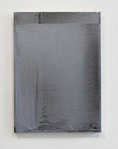 McClune Silver and Milori Blue Over Black, 2010-2012 • mixed media on aluminium dibond, 50 x 36 cm