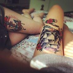 a classic american thigh tattoo