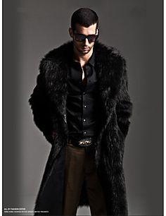 Manteau en Fourrure Hommes,Couleur Pleine Sortie / Décontracté / Quotidien Vintage / Chic de Rue Manches Longues Col Arrondi Noir / Gris