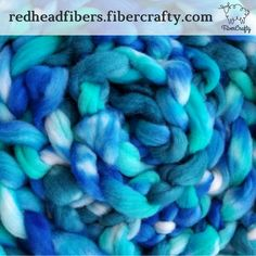 Pandora's Aquarium spinning fiber! Beautiful blues, greens and teals on 6 ounces of Blue Faced Leicester roving. BFL is a fabulous fiber for spinning and and soft. This colorway is also available on two other fiber bases: Merino, Bamboo, Silk and Superwash Merino. In the Redhead Fibers #fibercraftyshop.