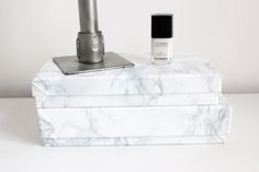 worry about it later: interior: marble boxes DIY minimal style interior Minimal Style, Minimal Fashion, Marble Box, Diy Box, Perfume Bottles, Boxes, Interior, Crates, Indoor
