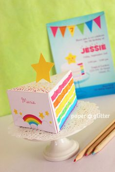 Rainbow Paper Cake Slice favor party baking box printables GIRLY PINK - Editable Text Printable PDF 1052. $4.50, via Etsy.