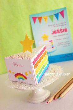 Rainbow Paper Cake Slice favor party baking box printables GIRLY PINK - Editable Text Printable PDF 1052