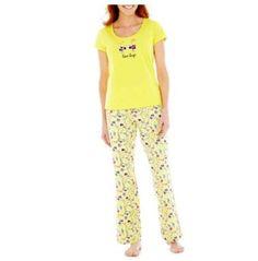 NWT Ladies Mixit Short-Sleeve Pajama Set Yellow Love Bugs - Size Large #Mixit #PajamaSets