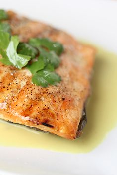 Grilled salmon w/ lemongrass and coconut milk