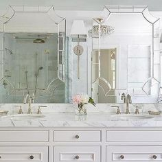 Mirror on Top of Vanity Mirror, Transitional, Bathroom