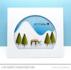 Winter Wonderland, Fluttering Hearts Die-namics, Stitched Arch STAX Die-namics, Stitched Mountain Range Die-namics, Winter Wonderland Die-namics - Francine Vuillème  #mftstamps
