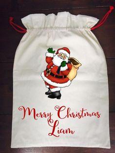 Calico Santa Sack - Santa Santa Sack, Santas Workshop, Christmas Stockings, Merry, How To Make, Collection, Needlepoint Christmas Stockings, Christmas Leggings, Stockings