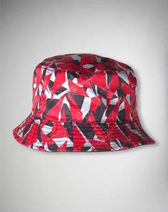 Red Black Geometric Bucket Hat