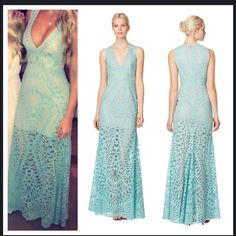 Stunning BcbgMaxazria Aqua Gown 2 Maranda Burnout Worn once and dry cleaned! Be prepared to get lots of compliments. It's a beautiful dress. Maranda Burnout Lace Dress. BCBGMaxAzria Dresses Maxi