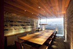 a super modern fancy wine cellar