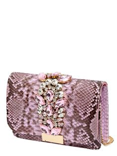 GEDEBE - JEWELED PINK PYTHON CLUTCH - CLUTCHES - PINK - LUISAVIAROMA