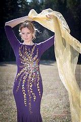 Šaty - Dlhé fialové ...maľované - 3868532_