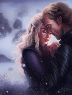 Daenerys Targaryen and Jorah Mormont from HBO Game of Thrones, digital painting by artist Sandra Winther Arte Game Of Thrones, Game Of Thrones Facts, Game Of Thrones Funny, Winter Is Here, Winter Is Coming, Daenerys Targaryen Art, Khaleesi, Game Of Thrones Pictures, Ser Jorah Mormont