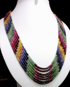 Natural Ruby,Emerald & Sapphire Beads Necklace (kgr396ct),for further details,visit us at www.krishnagemsnjewels.com
