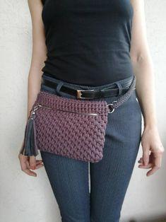 Diy Crochet Bag, Crotchet Bags, Crochet Belt, Crochet Pouch, Crochet Amigurumi, Crochet Shirt, Knitted Bags, Crochet Crafts, Easy Crochet