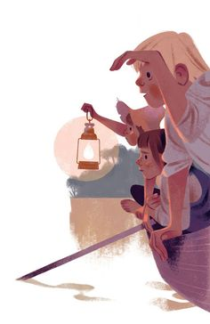 Annette Marnat's illustration for Tom Sawyer - gorgeous use of white space, and rich shadow colors