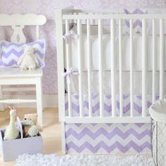 girls lavender nursery bedding   Zig Zag Baby in Lavender Girls Crib Bedding   Zig Zag (Chevron) Beddi ...