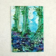 ACEO Acrylic Ink Bluebell Woodland Fantasy by PaperChainsandBeads