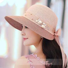 f454385b292 Fashion bow straw hat for summer beach UV package sun hats wide brim