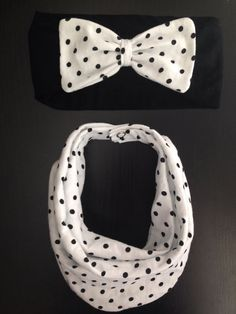 Black and White Polkadot Matching Baby Scarf Bib & Bow Headband - other prints available -see other listings